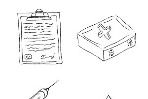 medical objects, icons, sketch