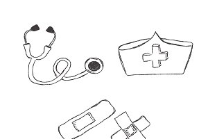 medical objects, sketch, icons