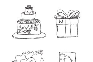 wedding set, sketch, icons