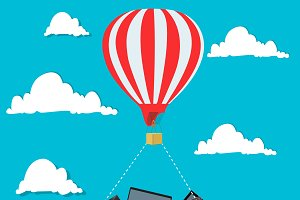 air balloon, electronics, vector