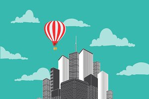 city, air balloon, vector