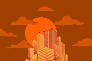 city, sun set, rise, vector