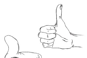 hands showing thumbs up, sketch
