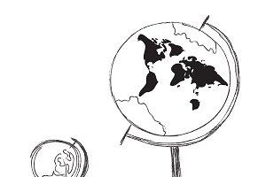 globe, sketch