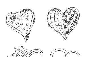sketch, hearts, set, vector