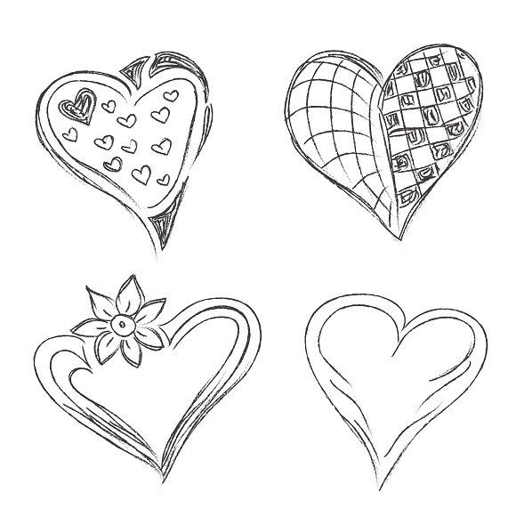 sketch, hearts, set, vector