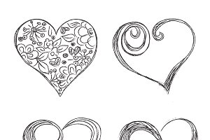 hearts, set, sketch