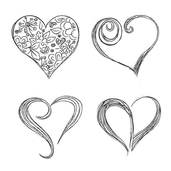 hearts, set, sketch