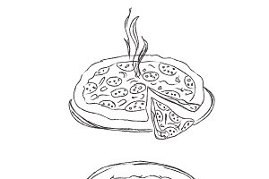 Pizza, sketch, vector, illustration