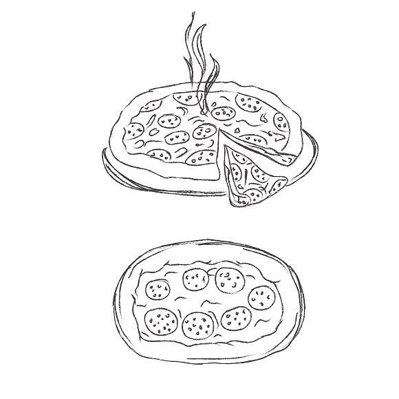 Pizza, sketch, vector, illustration  in Illustrations