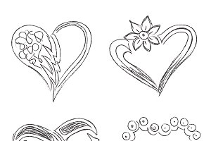 hearts, set, illustration