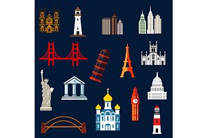 World travel landmarks flat icons