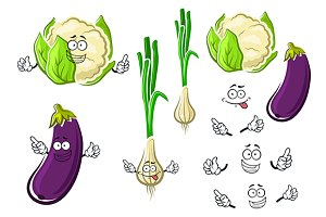 Cauliflower, onion and eggplant