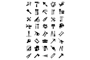 Black electric and manual tool icons