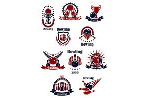Bowling game icons and symbols