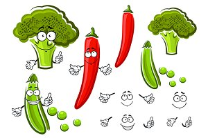 Pea pod, pepper and broccoli