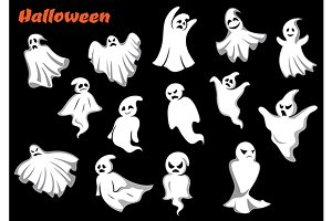 Flying Halloween monsters and ghosts