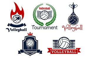 Volleyball sport game icons