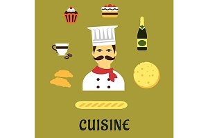 French national cuisine flat icons
