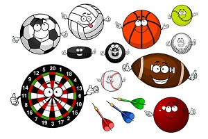 Cartoon sport items and equipment