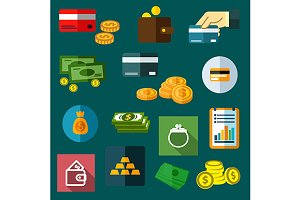 Finance, business and money icons