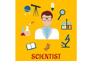 Scientist profession icons