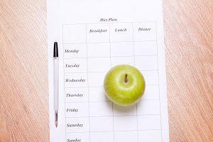 diet plan, pencil and apple