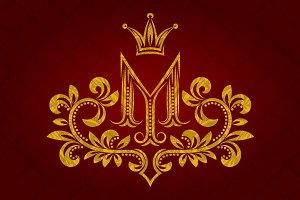 Patterned golden letter M monogram