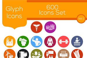 600 Glyph Icons Sets Vol - 1