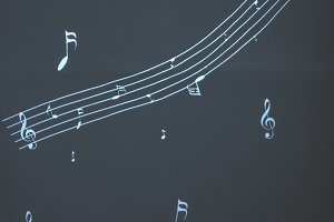 Musical notes on wall.