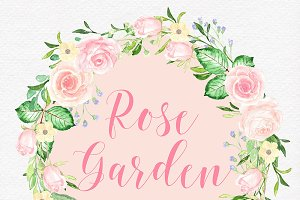 Watercolor rose garden