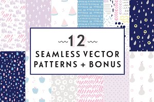 12 Seamless Vector Patterns + Bonus
