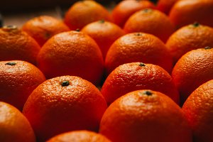 many fresh tangerines