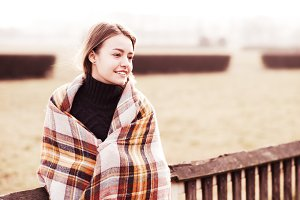smiling girl hid plaid