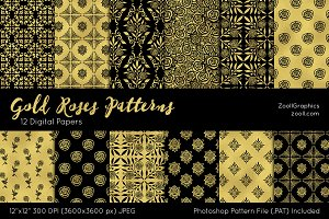 Gold Roses Digital Papers