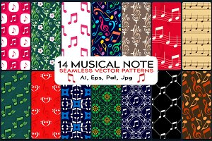14 Musical Note Seamless Patterns