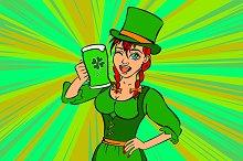 Beautiful leprechaun girl with beer