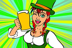 Beautiful leprechaun girl with beer