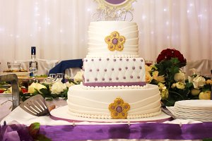 multi-tiered wedding cake