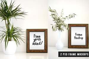 Brown Wooden Frame Mockups