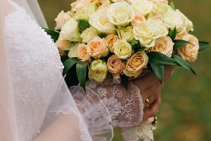 young bride holding a bouquet