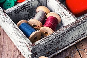 Box with sewing accessories