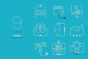 Tourism: connection flat design