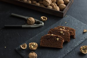 Chocolate brownies and nuts