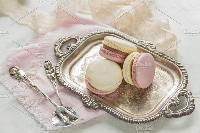 Macarons. Vintage style. - Food & Drink