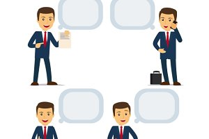 Businessman with speech bubbles