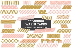 Gold and Coral Pink Washi Tapes