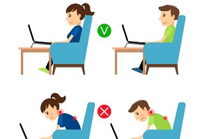 Incorrect & Correct laptop use pose
