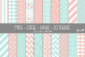 Mint Coral & White Paper