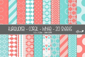 Coral Turquoise White Patterns